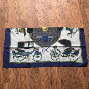 Hermes Accessories - VINTAGE HERMÈS | Blue Carriage 90cm Silk Scarf